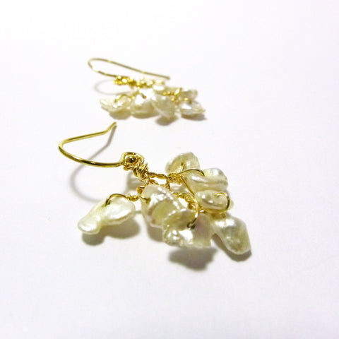 Petals Earrings / Keishi Pearls / Handmade / 14k Gold-filled
