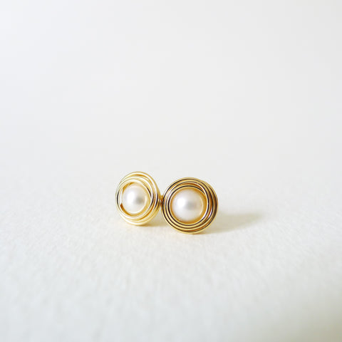 Nested Pearl Stud Earrings
