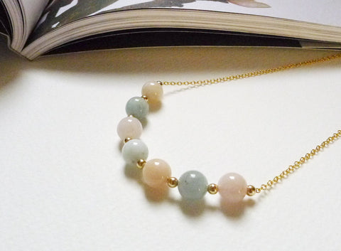 Rhea Necklace / Mixed Beryl with Morganite and Aquamarine