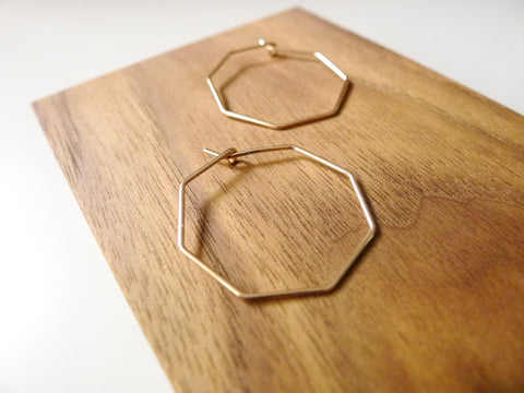 Octagon Hoop Earrings 1""