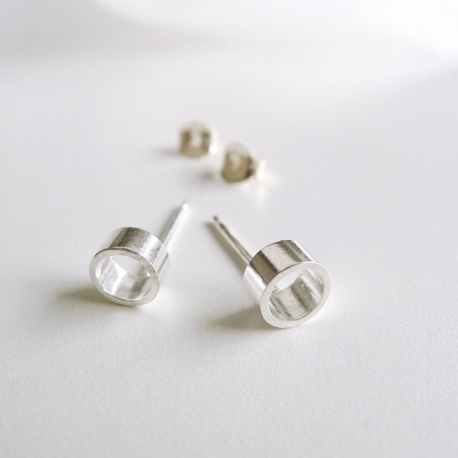 Tube55 silver | Simple Studs | Post earrings | Small Stud Earrings