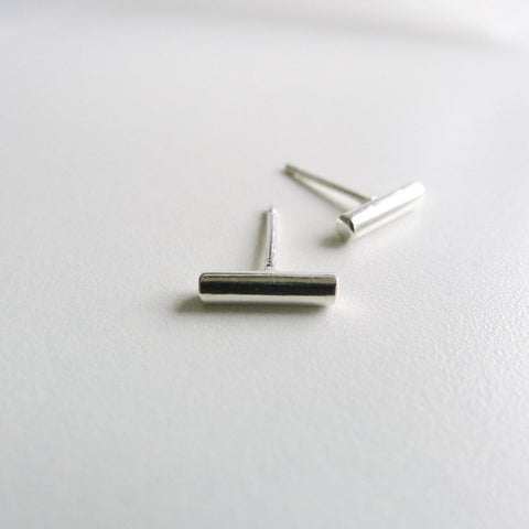 Short Bar silver |Minimal Earrings | Post earrings | Small Stud Earrings