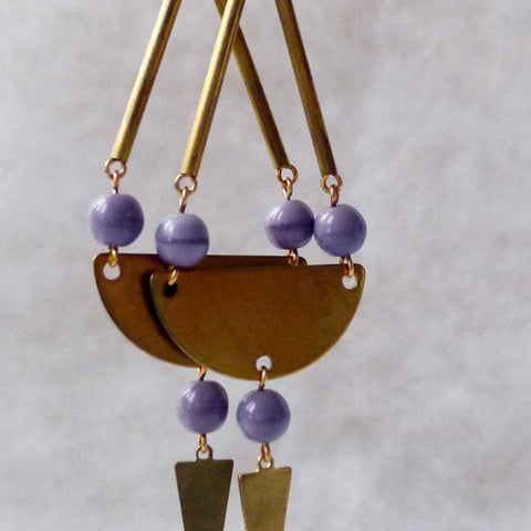 Dina Earrings (Purple) | Long drop earrings | Brass earrings | Boho earrings