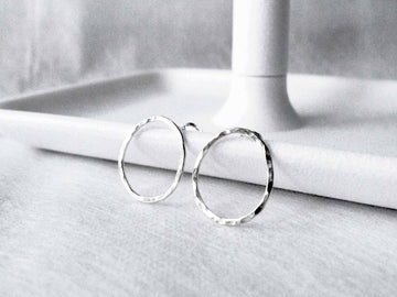 Textured semi_round studs | 925silver studs | Simple Studs | Post earrings