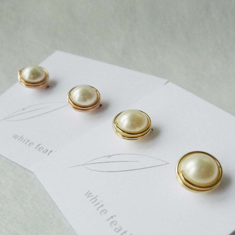 8mm White Shell Pearl Earstuds | Stone Studs | Dailywear Studs