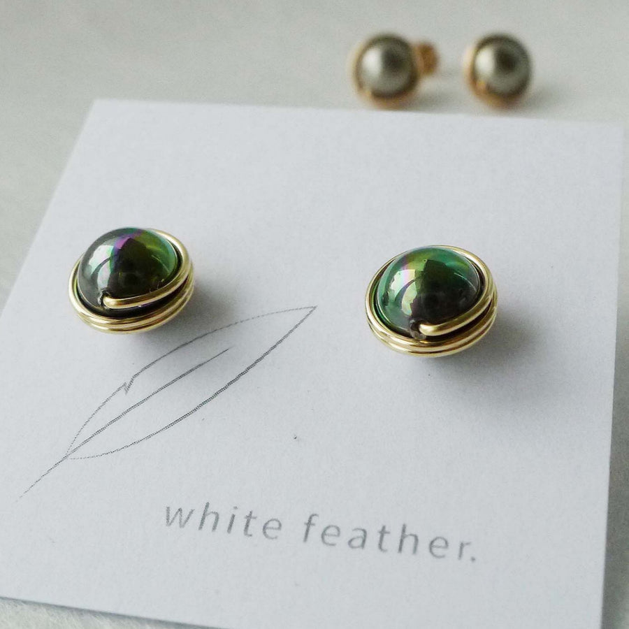 8mm Shell Pearl Earstuds | Peacook Black