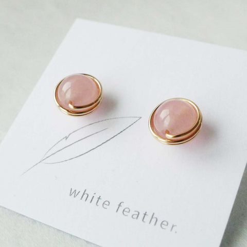 8mm Rose Quartz Earstuds | Stone Studs | Dailywear Studs