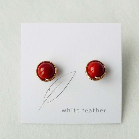 8mm Red Shell Pearl Earstuds | Stone Studs | Dailywear Studs