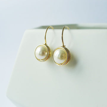 Shell Pearl Wrapped Drop Earrings (Large) / 14k Gold-filled