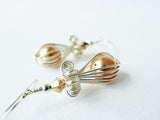 Wire Wrapped Gold Shell Pearl Earrings