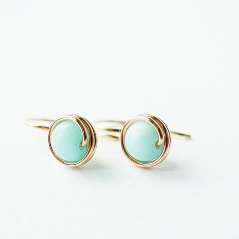 Hemimorphite Drop Earrings / Regular Size
