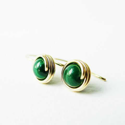 Malachite Drop Earrings / Regular Size