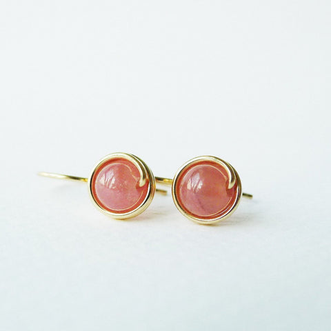 Rhodochrosite Drop Earrings / Regular Size