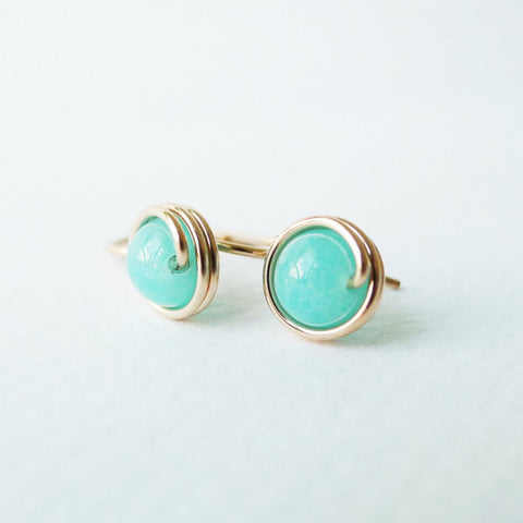 Amazonite Drop Earrings / Regular Size