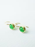 Green Agate Drop Earrings / Regular Size