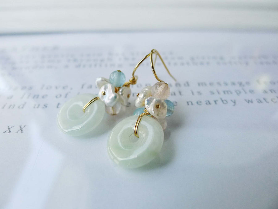 Myanmar Jade Donut Earrings - OOAK-F