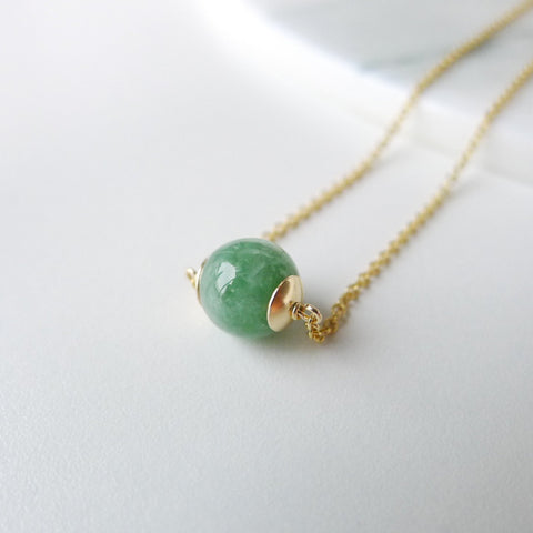 Premium Myanmar green/lavender/icey Jade necklace in 8mm