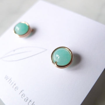 Amazonite Earstuds (Medium) / 14k Gold-filled