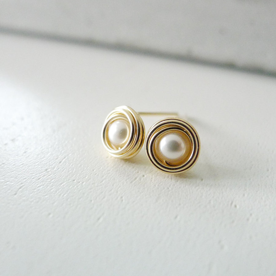 Branka Stud Earrings / Faux Pearls