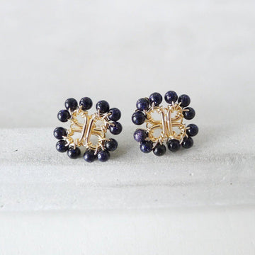 Four-Leaf lover Earstuds / Blue Sandstone