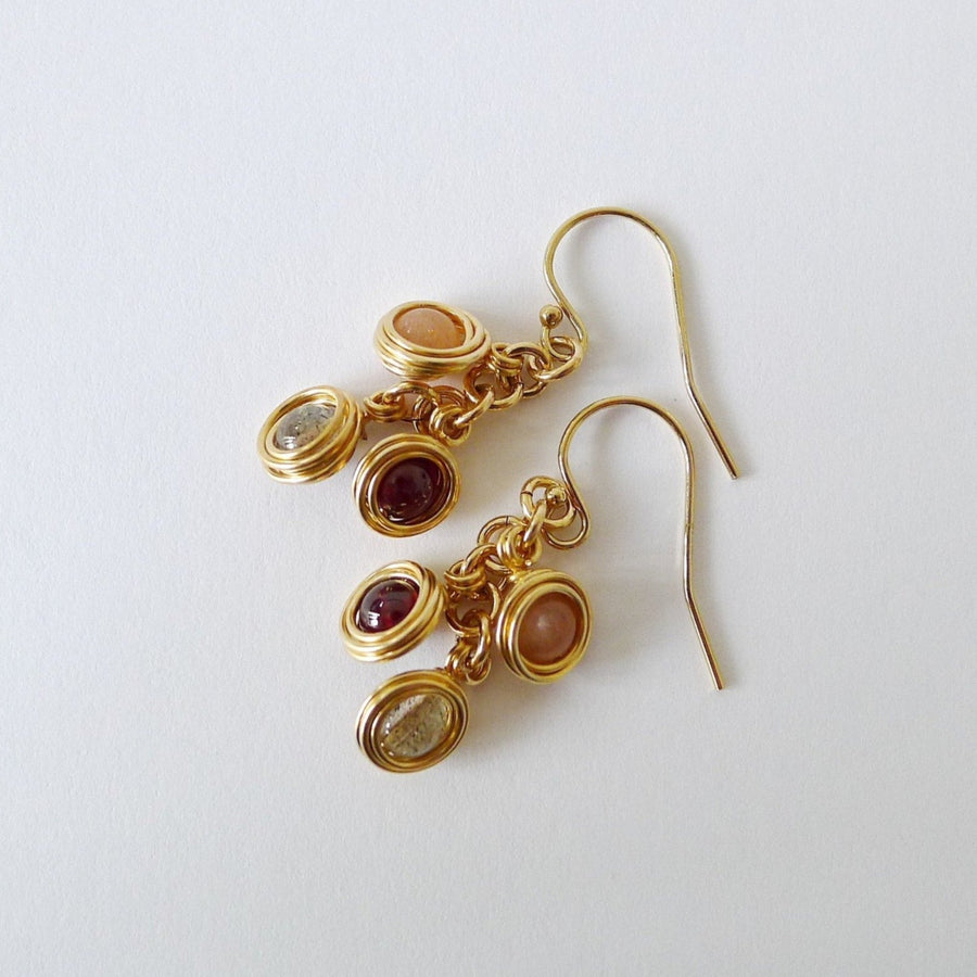 Iris Earrings / Peach Sunstone | Labradorite | Garnet