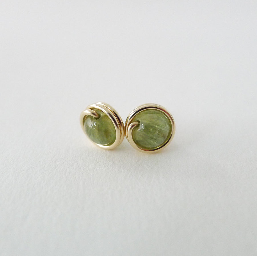 Green Apatite Earstuds (Medium) / 14k Gold-filled