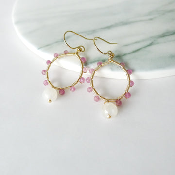 Evangeline Earrings / Pink Tourmaline | Moonstone