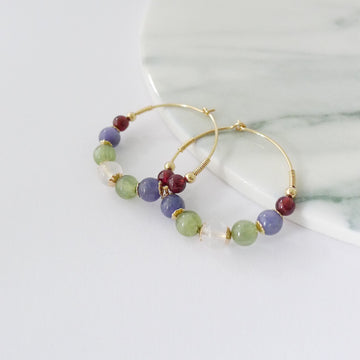 Megan Hoop Earrings / Moonstone | Green Apatite | Tanzanite | Garnet
