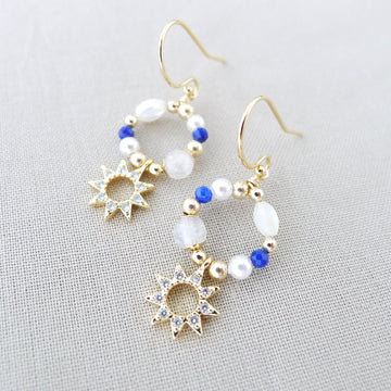 Este Earrings / Moonstone | Mother-of-Pearl | Lapis Lazuli | Shell Pearl