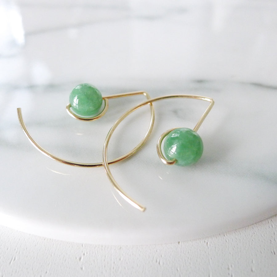 Halfmoon Earrings / Premium Green Jade