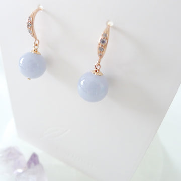 Iolanthe Earrings / Lavender Jade / Rose Gold