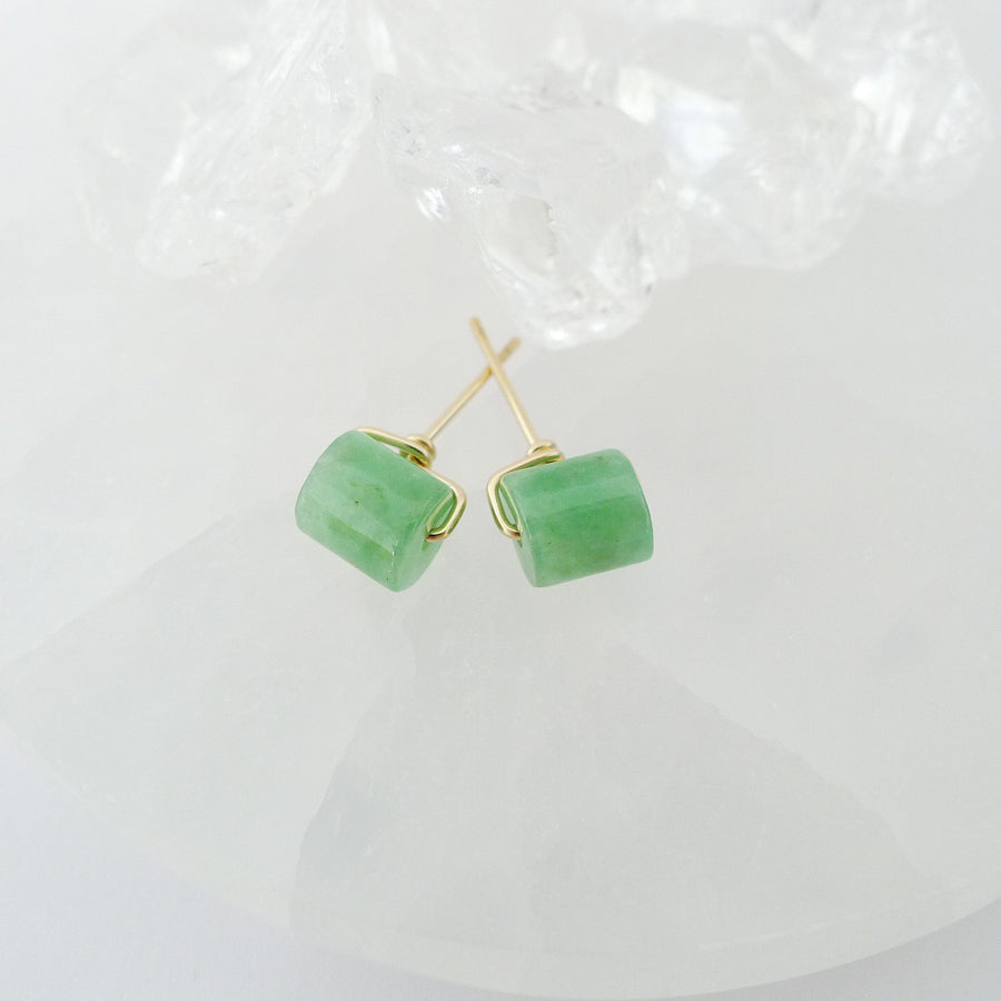 Lana Earstuds (6mm - 6.5mm) / Green Barrel Jade