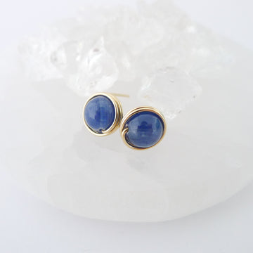 Blue Kyanite Earstuds (Large) / 14k Gold-filled