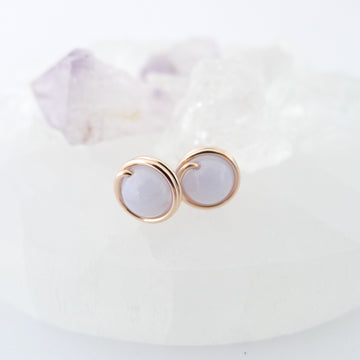 Blue Lace Agate Earstuds (Medium) / 14k Gold-filled