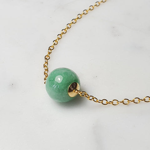 Myanmar Green Jade 9mm/Necklace