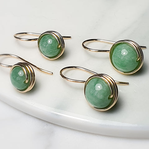 Myanmar Green jade Drop Earrings / Regular and  Large size