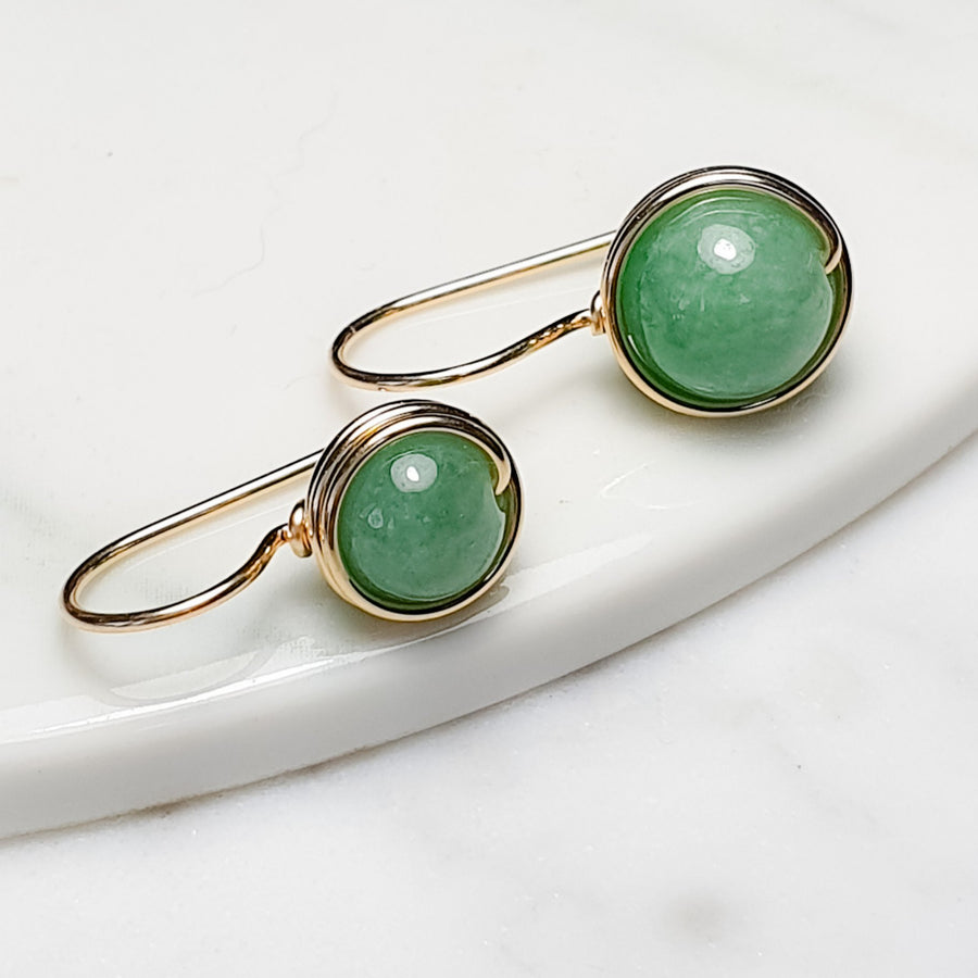 Premium Green Jade Earrings (7mm/9mm) / 14k Gold-filled