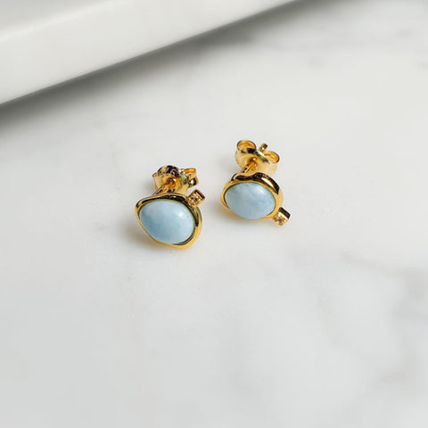 Larimar studs/18K GP on silver925