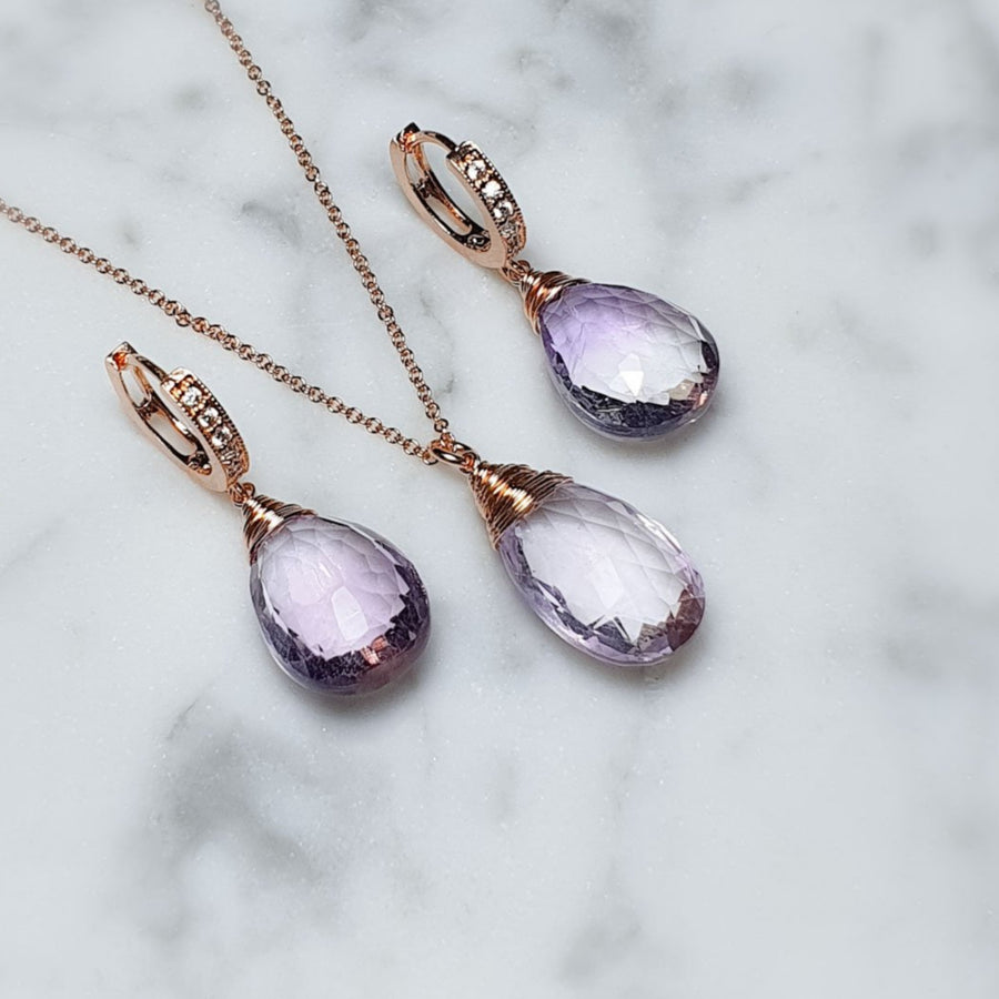 Ahm earrings and necklace in set / AA Pink Amethyst gemstones