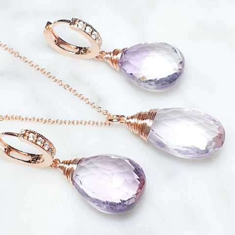 Ahm earrings and necklace in set / AA Pink Amethyst gemstones/ for mother