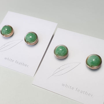 Premium Green Jade Earstuds (Extra Large) / 14k Gold-filled