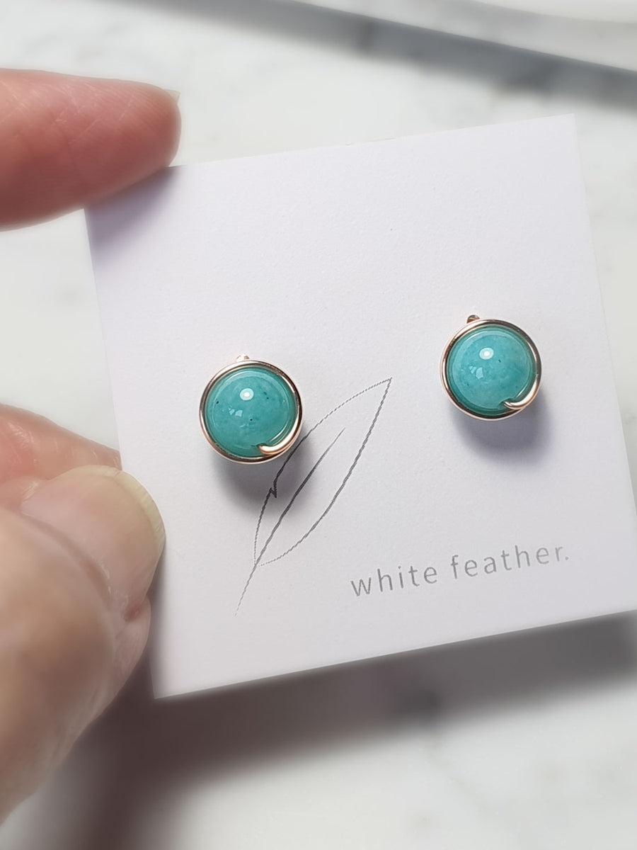 Seafoam greem Amazonite Earstuds / 8mm