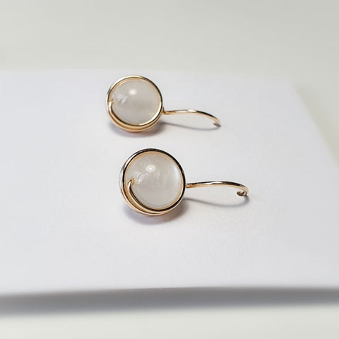 Moonstone wrapped Drop Earrings /10mm