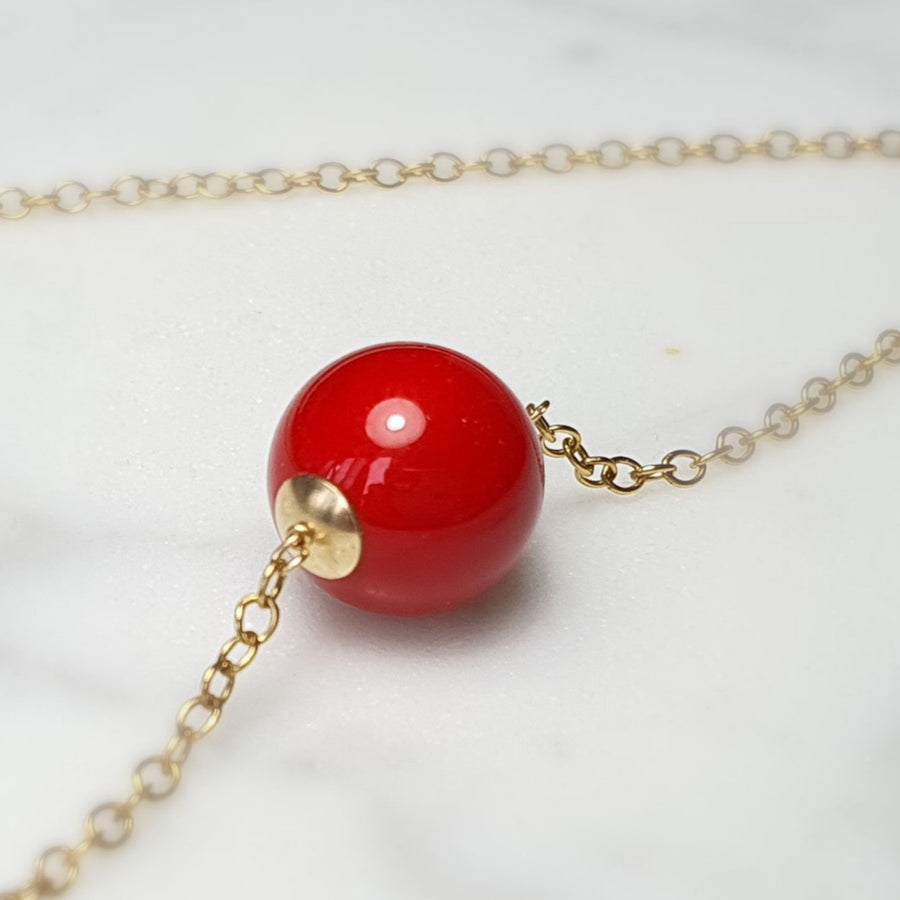 Vintage red shell Pearl necklace