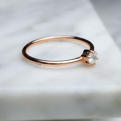 White Topaz ring/round/ Rose gold