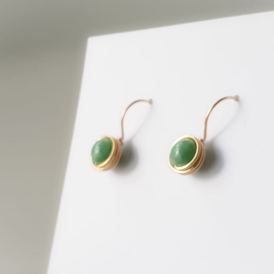 Premium Green Jade Wrapped Drop Earrings (7mm) / 14k Gold-filled