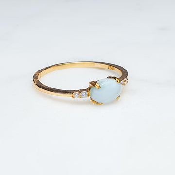 Larimar and white topaz / 18GP