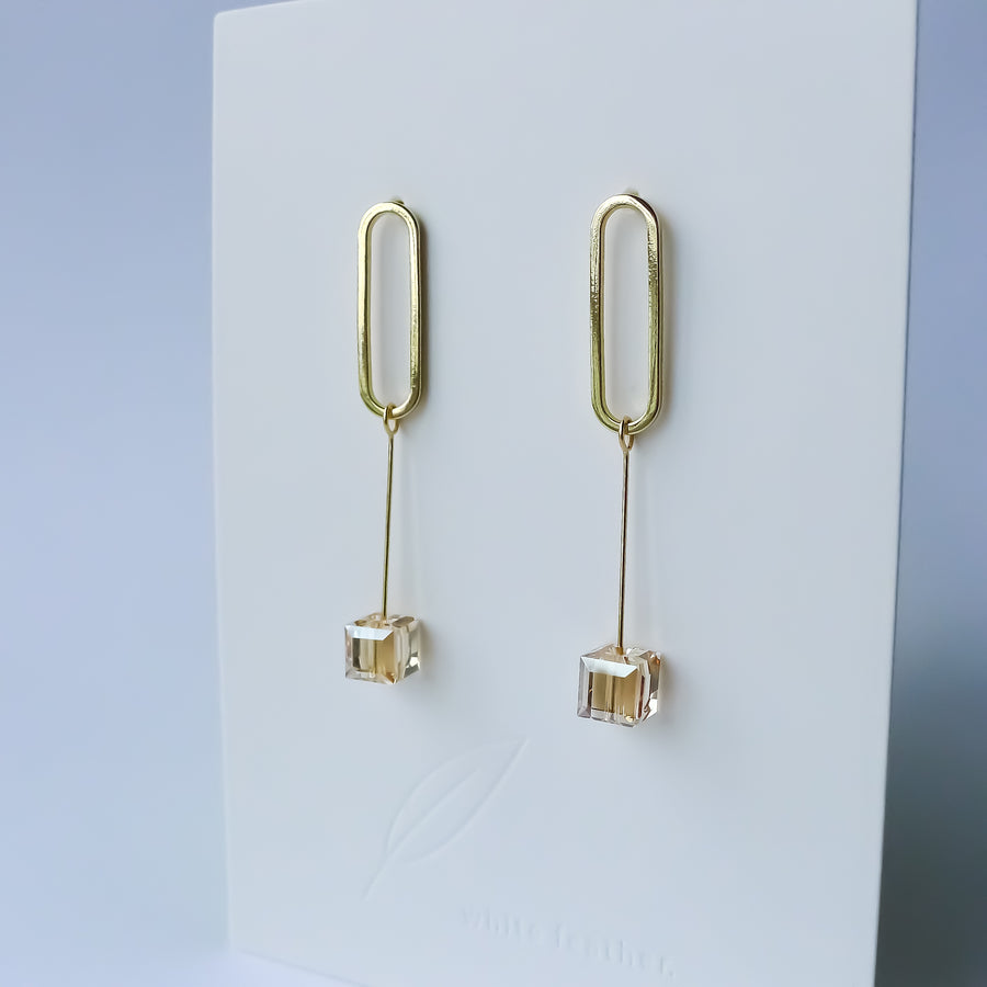 Cube Earrings / Crystal
