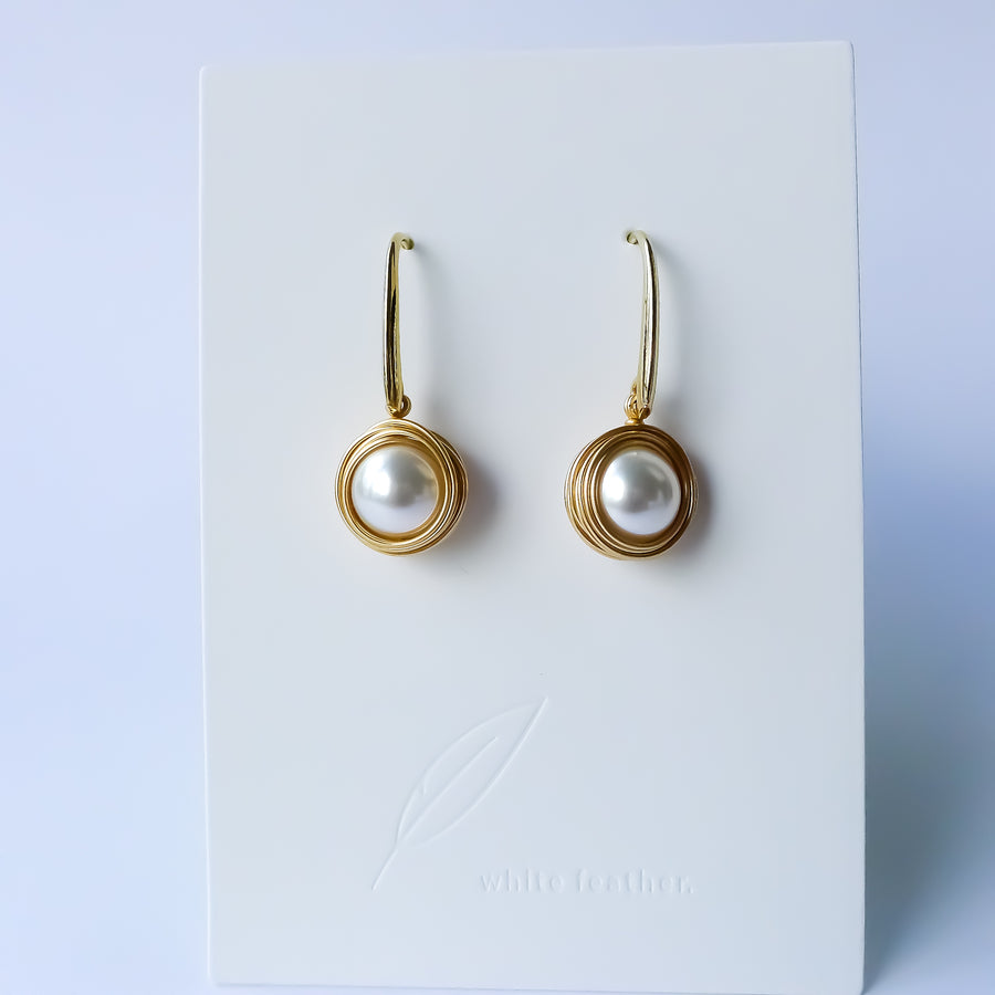 Trudi Earrings / Nested Pearl Drop/ Gold