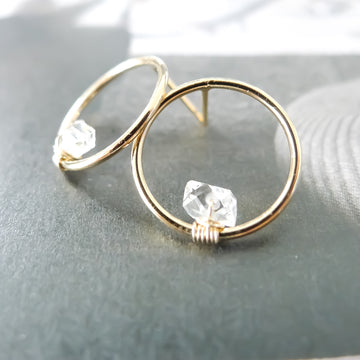 Hermione Herkimer Diamond Circle Earstuds / 14k Gold-filled